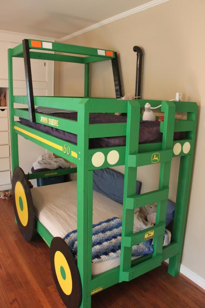 kinder etagenbett jungenzimmer gestalten ausgefallenes bett grün auto