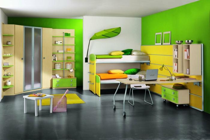 kinder etagenbett kinderzimmer einrichten ideen grün gelb dunkler boden
