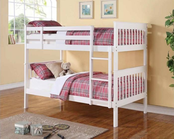 kinder etagenbett kleines wohnzimmer einrichten farbige bettwäsche