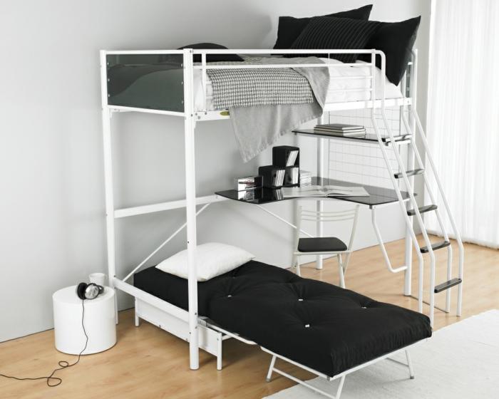 kinder etagenbett schlichtes design schwarze matzatzen weißer teppich