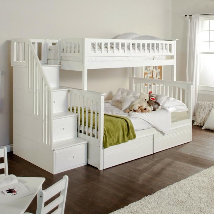 kinder etagenbett weiß funktionale treppen helles kinderzimmer