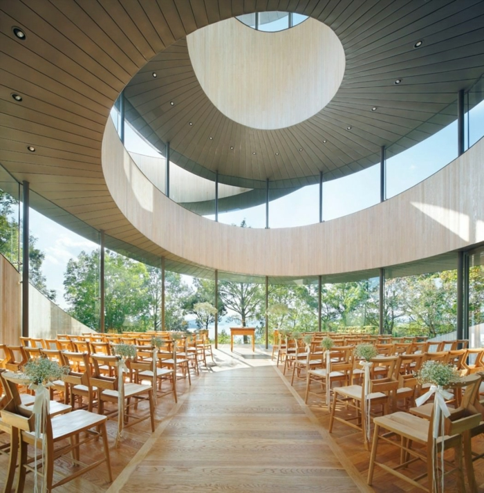 kirchliche trauung ribbon chapel hiroshi nakamura japan architektur rund organisch