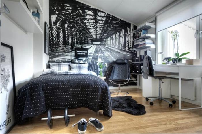 kleines schlafzimmer einrichten doppelbett fototapete schwarz weiß