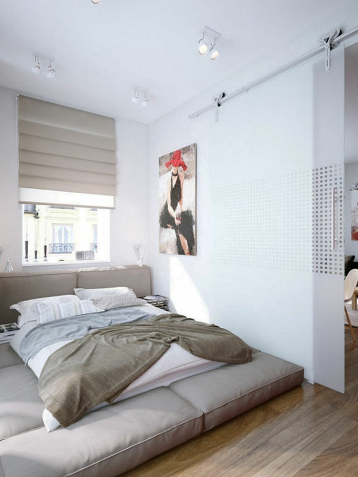 kleines schlafzimmer einrichten doppelbett schiebetür glas