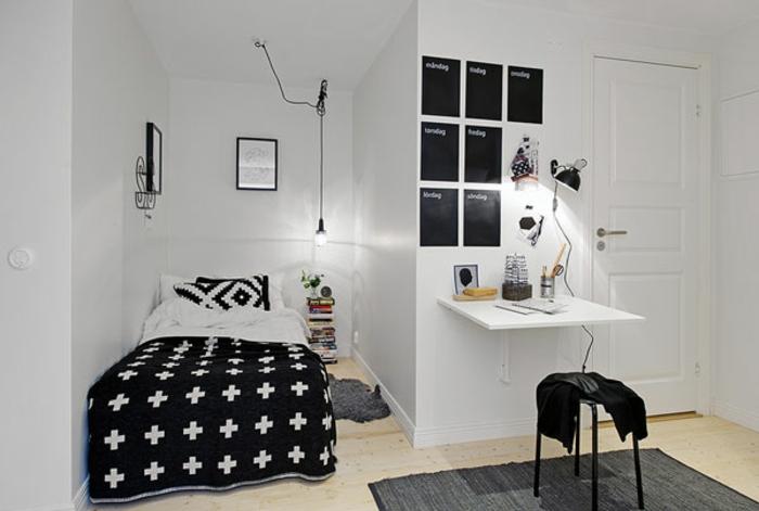 kleines schlafzimmer einrichten nische bett gemusterte kissen tagesdecke