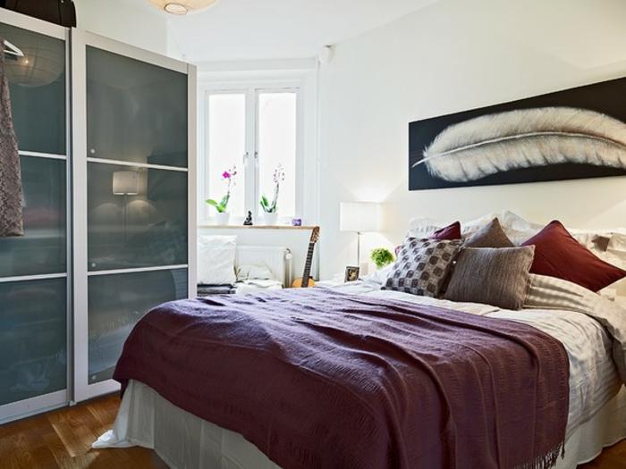 kleines schlafzimmer einrichten schiebetür kleiderschrank