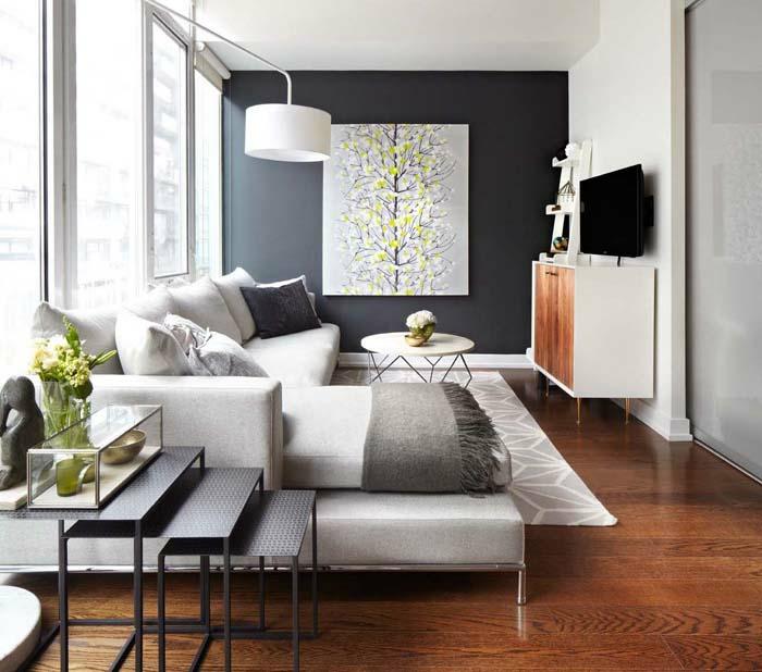kleines wohnzimmer einrichten akzentwand retro möbel bogenlampe