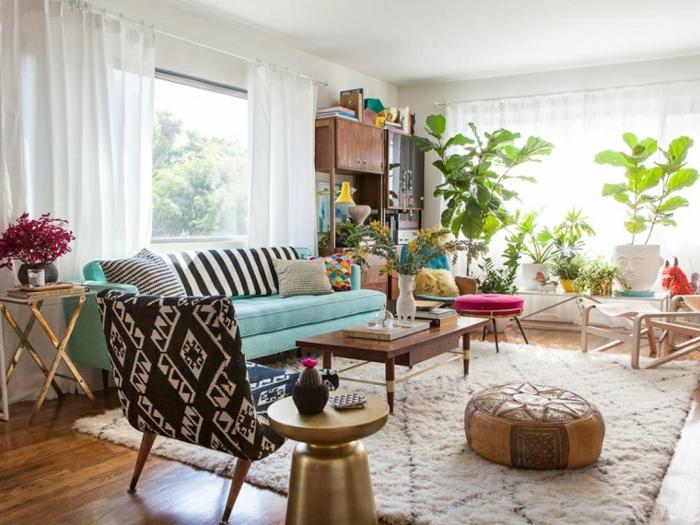 kleines wohnzimmer einrichten bohemian style wohnmöbel zimmerpflanzen
