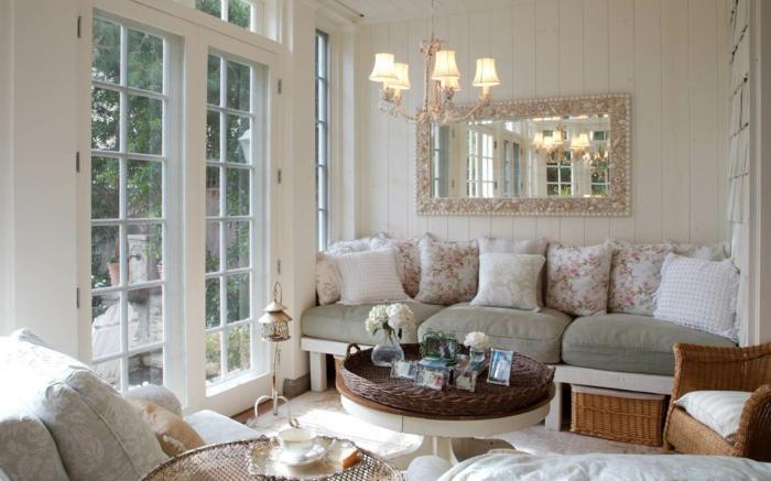 Kleines Wohnzimmer Einrichten Boho Stil Vintage Rattanmbel Dekokissen