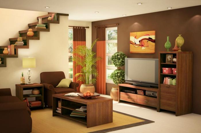 Wohnzimmer Ideen Braune Couch Kleines Einrichten Wandfarbe Sessel Kommode Regal