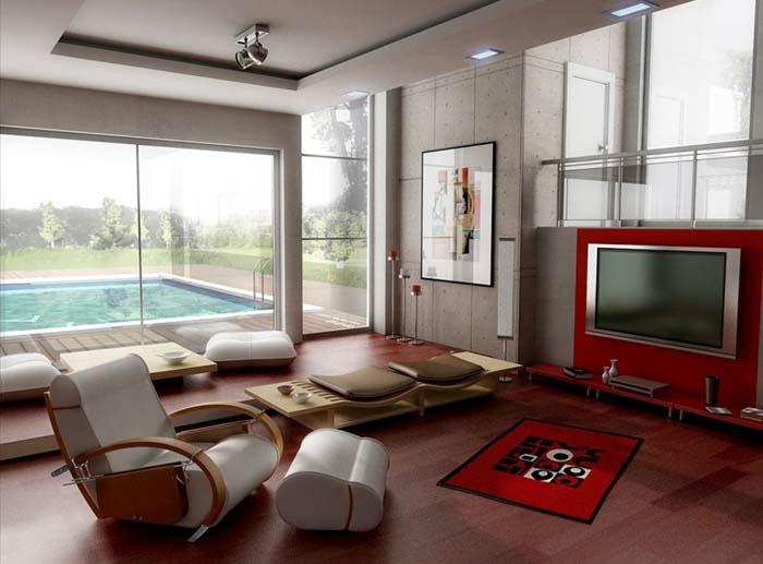 kleines wohnzimmer einrichten designer möbel modern ergonomischer sessel fußhocker