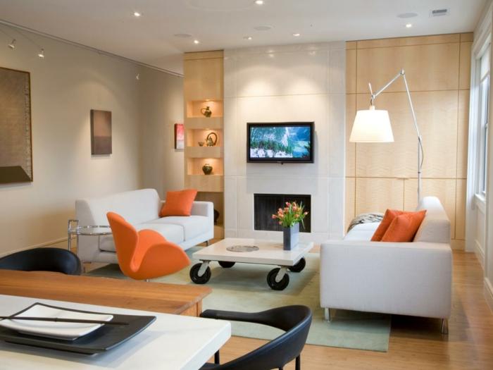 kleines wohnzimmer einrichten einbauschränke wandregal couchtisch designer möbel