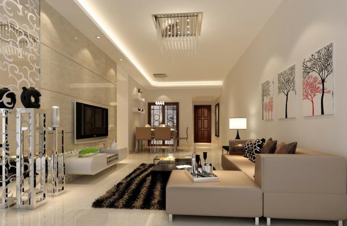 Kleines Wohnzimmer Einrichten Granit Wandfliesen Bodenfliesen Hochflor  Teppich Ledercouch Beige