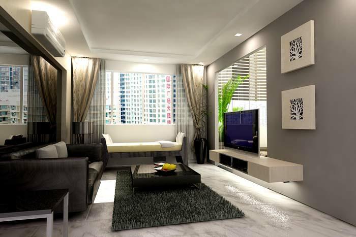 kleines wohnzimmer einrichten hochflorteppich schwebende kommode sofas