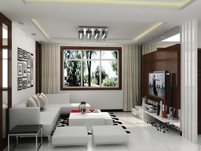 kleines wohnzimmer einrichten moderne möbel weiße couch hocker