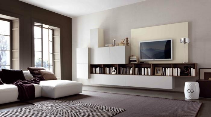 kleines wohnzimmer einrichten moderne wohnmöbel bücherregal wandregal