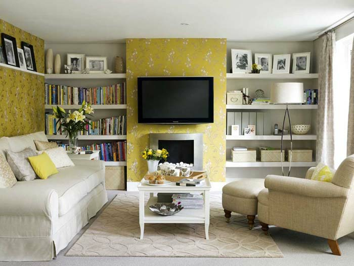 kleines wohnzimmer einrichten mustertapete eingebaute regale - Kleines Wohnzimmer Einrichten