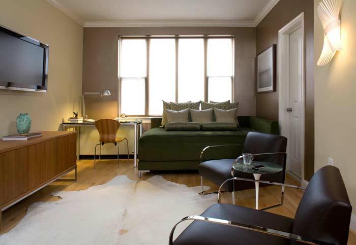 kleines wohnzimmer einrichten pelzteppich retro wohnzimmermöbel