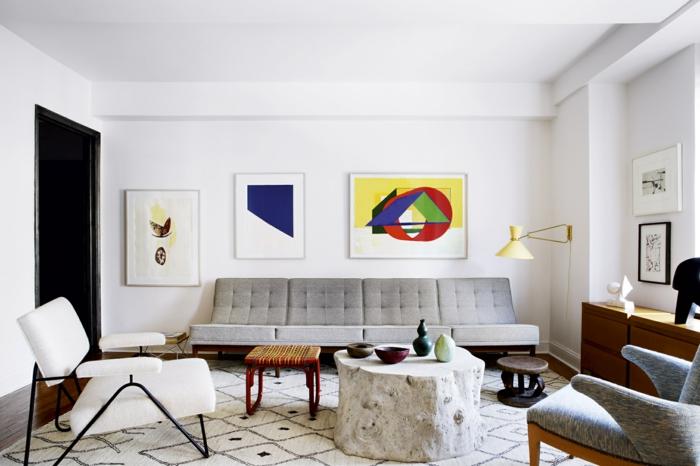 kleines wohnzimmer einrichten retro möbel geometrische muster wandkunst
