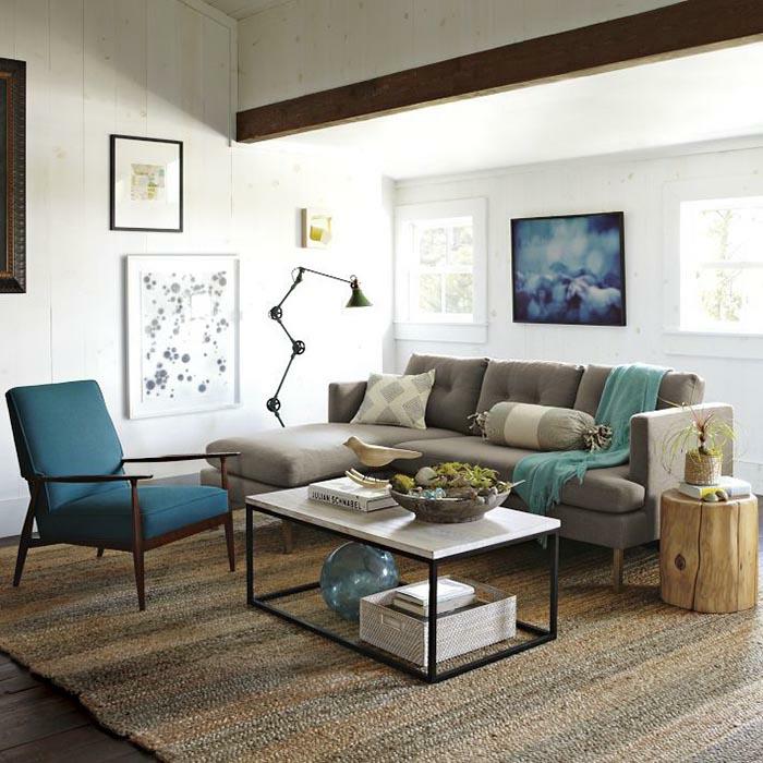 kleines wohnzimmer einrichten retro wohnmöbel sisalteppich naturholz