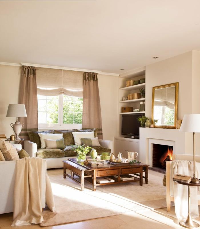 Kleines Wohnzimmer Einrichten Sessel Kamin Eingebaute Regale