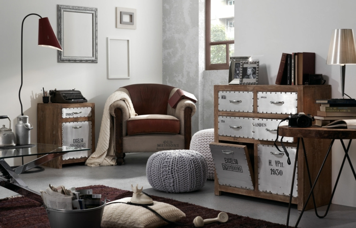 kleines wohnzimmer einrichten vintage industrieller stil metall holzkommoden schränke