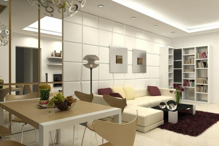 kleines wohnzimmer einrichten wandregale bücherregale hochflorteppich einbauleuchten