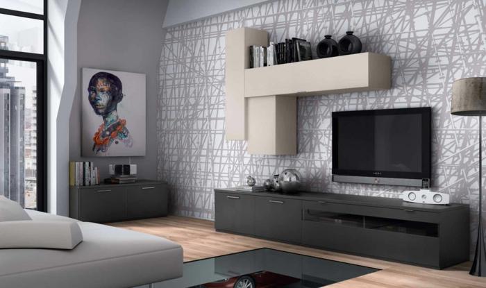 kleines wohnzimmer einrichten wandregale mustertapete grau weiß