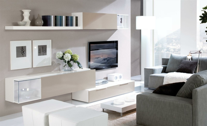 kleines wohnzimmer einrichten wandregale schränke kommode weiß