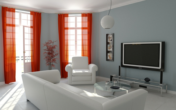 kleines wohnzimmer einrichten weiße möbel glastisch kommode orange vorhänge