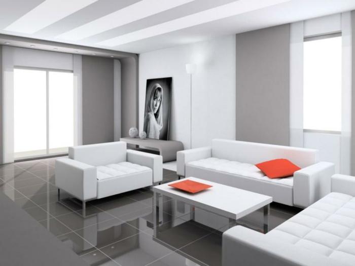 kleines wohnzimmer einrichten weiße wohnzimmermöbel sofa sessel graue vorhänge fliesen