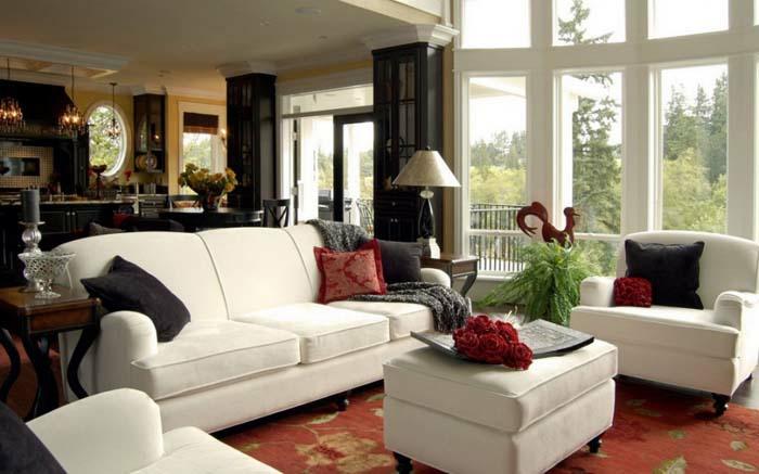 wohnzimmer einrichten wohnzimmermöbel weiß bezogen sofa sessel ottomane