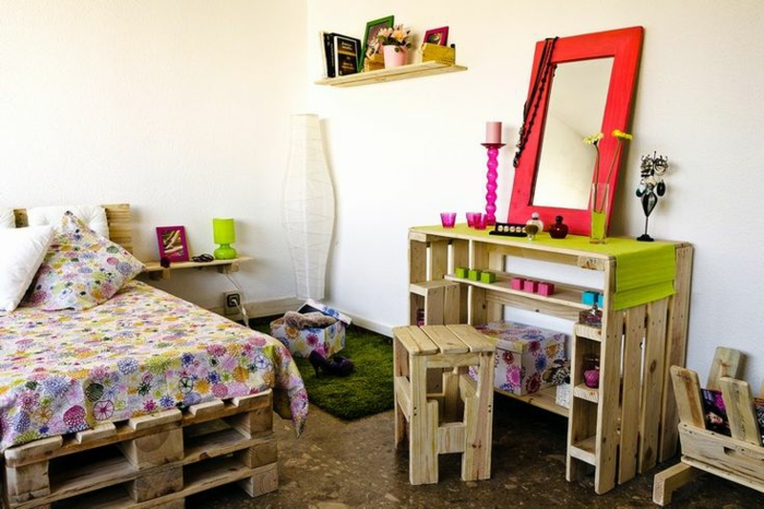 möbel aus paletten europalette kinderzimmer diy ideen bett kommode