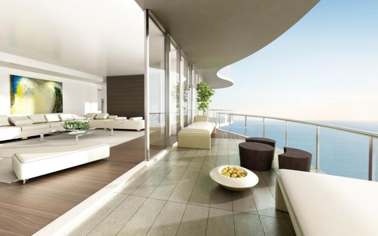 moderne Balkonideen und stilvolle Balkonmöbel schlicht minimalistisch