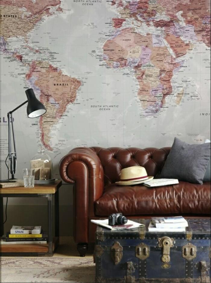 moderne sofas cheserfield sofa wohnzimmer wandgestaltung weltmappe