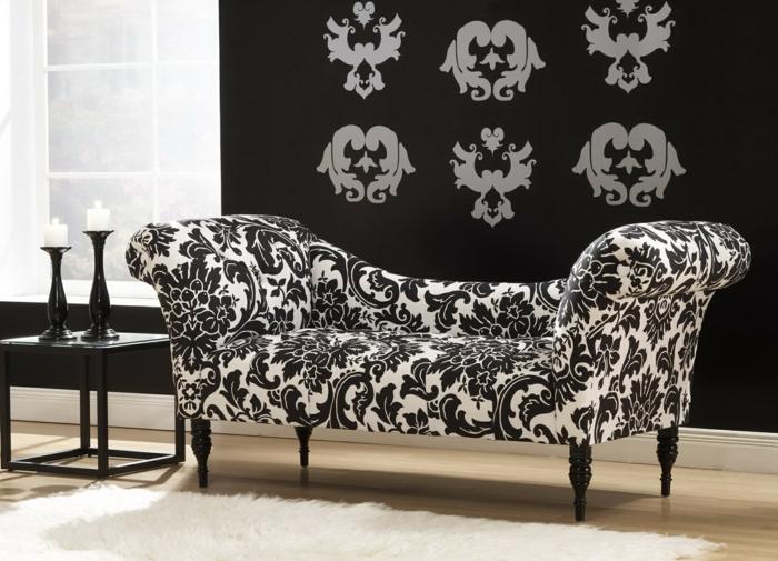 moderne sofas tagesbett schönes muster floral weiß schwarz