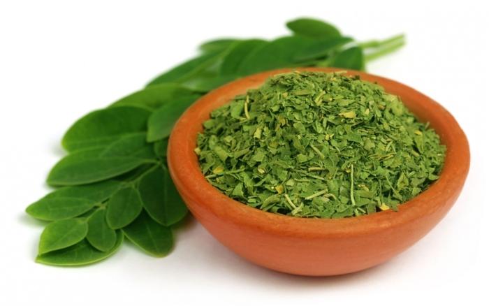 moringa pulver gesund grüne blätter getrocknet geschnitten