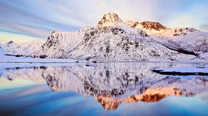 norwegen fjorde schneedecke