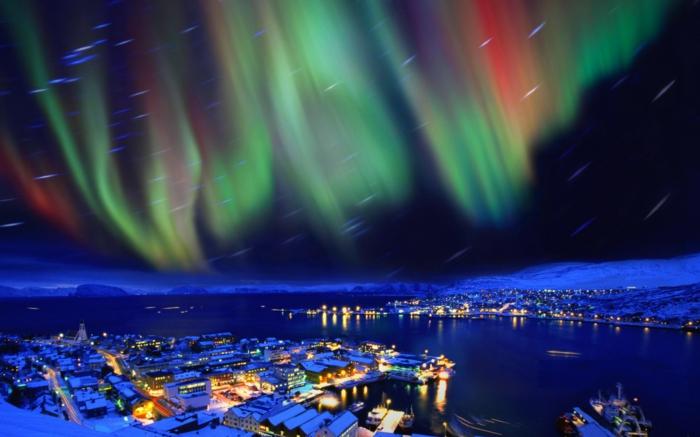 norwegen fjorde northern licht