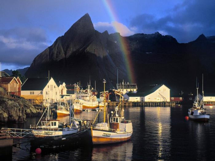 norwegen fjorde regenbogen lofoten inseln