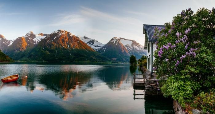 norwegen fjorde sonnenaufgang fruehling
