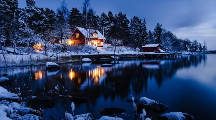 norwegen fjorde winter nachtlich