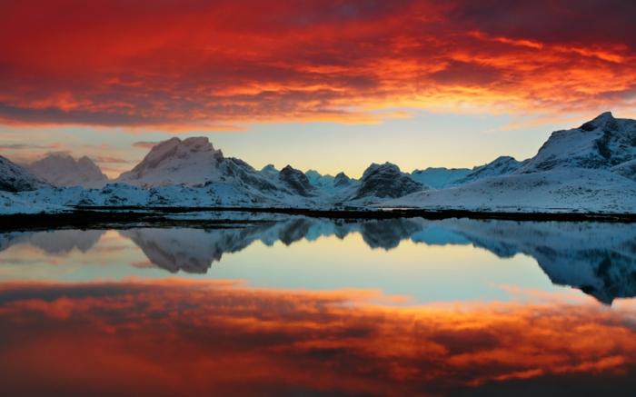 norwegen fjorde winter roter himmel