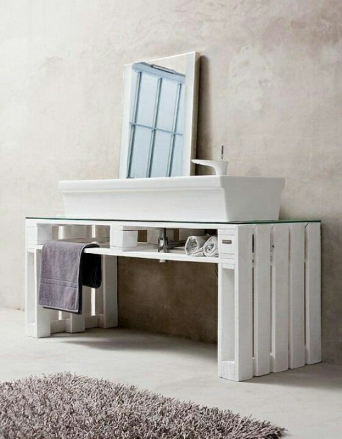 paletten diy möbel badeinrichtung regale minimalistisch