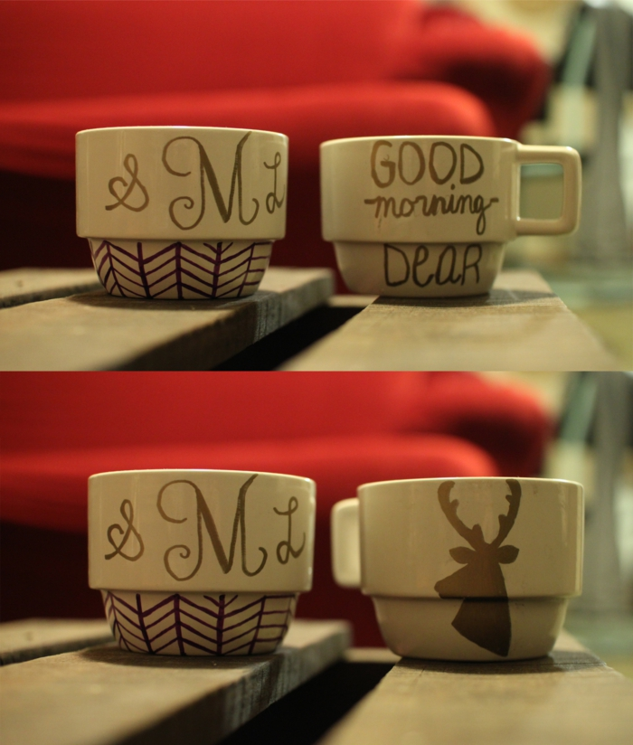 persönliche Geschenke Teetassen bemalen DIY Projekte Weihnachten