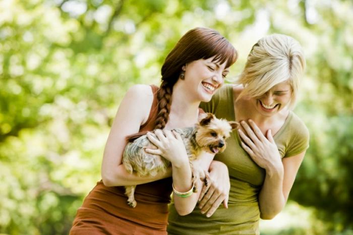positiv denken lernen freizeit natur freundinnen hund