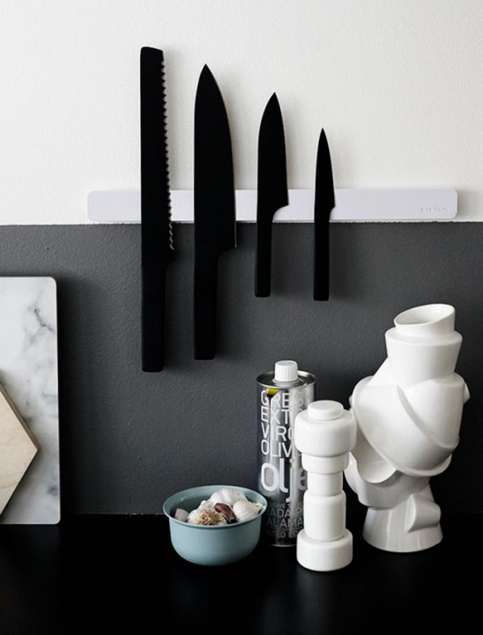 profi küchenmesser set schwarz messer magnetleiste küche