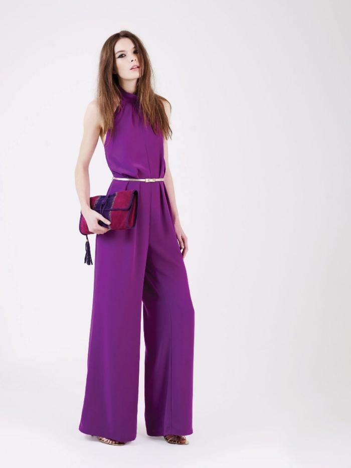 retro kleider herbst damenmode 2015 trend lila breite hose