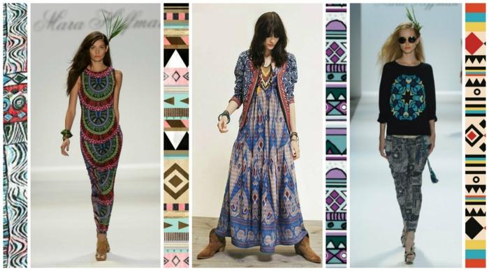 retro kleider herbst damenmode 70er ethno motive - Kleid Ethno Muster
