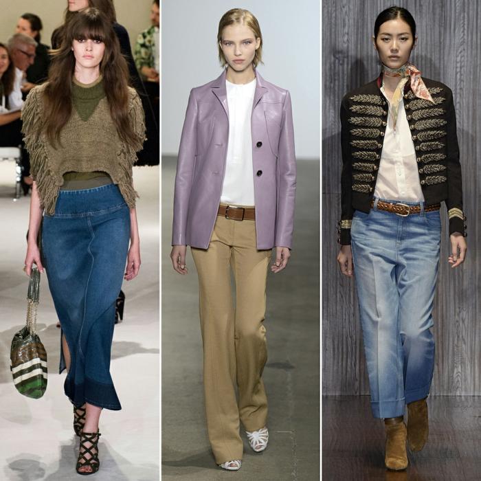 retro kleider herbst damenmode 70er trend jeanshose rock lederkleider oberteile